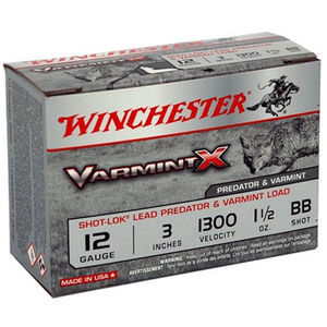 "Winchester Varmint X 12 Gauge 3"" Shell, 1-1/2 oz #BB Copper Plated Shot, 1300 fps, 10 Rounds, AX123VBB"