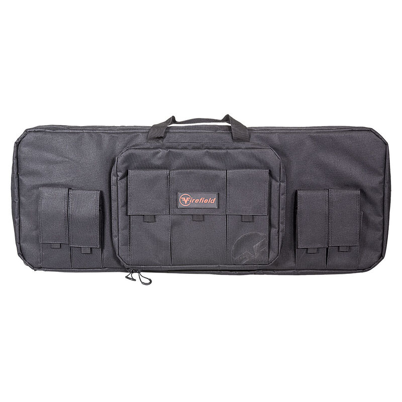 """Firefield AR-15 Carbon Series Double Rifle Bag 36""""x13""""x3"""" Size Padded Divider 600D Polymer Black"""