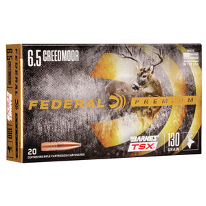 Federal Premium Barnes TSX 6.5 Creedmoor Ammunition 20 Rounds 130 Grain Barnes Triple-Shock X Projectile 2825fps