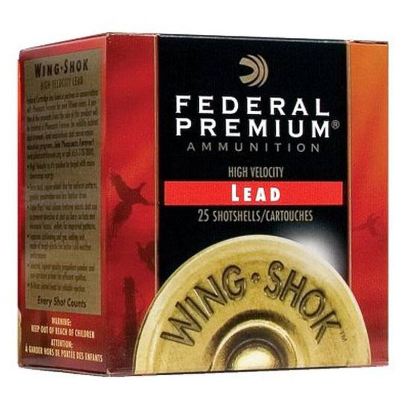 "Federal Wing Shok High Velocity Upland Load 12 Gauge Ammunition 2-3/4"" #4 Copper Plated Lead Shot 1-3/8 Ounce 1500 fps"