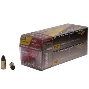 Inceptor Sport & Carry Combo Pack 9mm Luger +P Ammunition 125 Rounds Total 65 Grain ARX/RNP Lead free Cu/P 1695 fps