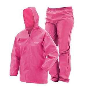 Frogg Toggs Youth Ultra-Lite Rain Suit Pink, Medium
