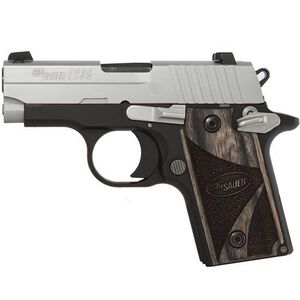 "SIG Sauer P238 Blackwood Semi Auto Handgun .380 ACP 2.7"" Barrel 6 Rounds Night Sights Blackwood Grips Two Tone Finish 238-380-BG"