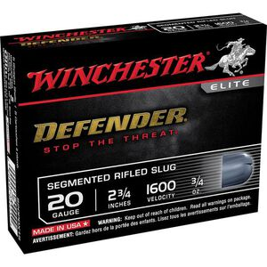 "Winchester Defender 20 Gauge Shot Shells 5 Rounds 2 3/4"" Segmented Slug 3/4 Ounce S20PDX1S"