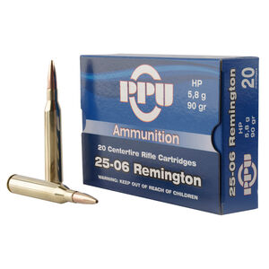 Prvi Partizan PPU .25-06 Remington Ammunition 20 Rounds 90 Grain Jacketed Hollow Point 3398fps