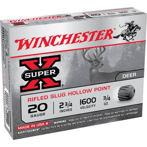 "Winchester 20 Gauge Super X 2.75"" Rifled HP Slug Five Rounds"