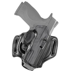 Aker Leather 168A FlatSider Slide XR13 GLOCK 19/23 Belt Holster Right Hand Leather Plain Black H168ABPRU-G1923