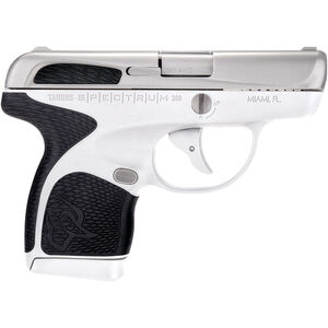 "Taurus Spectrum .380 ACP Semi Auto Pistol 2.8"" Barrel 6 Rounds White Polymer Frame with Black Inserts Stainless Finish"