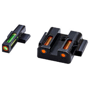 HiViz Litewave H3 Tritium/Litepipe fits M&P Shield Models Green Front Sight with Orange Front Ring/Orange Rear Sight Steel Housing Matte Black