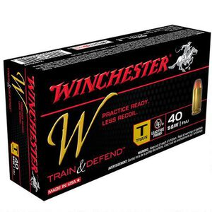 Winchester Train and Defend .40 S&W Ammunition 50 Rounds, Reduced Lead FMJ, 180 Grains