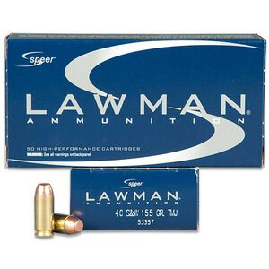 Speer Lawman .40 S&W Ammunition 50 Rounds TMJ 155 Grains 53957
