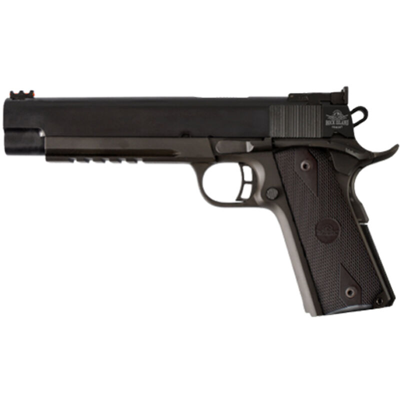 "Rock Island Armory Pro Match 1911 Semi Auto Handgun .45 ACP 6"" Barrel with Rail 8 Rounds Parkerized Steel Frame Checkered Grip Panels Black 51529"