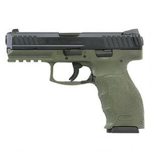 "H&K VP9 9mm Luger Semi Auto Pistol 4.09"" Barrel 15 Rounds Striker Fired Night Sights Picatinny Rail Black Slide Polymer Frame OD Green Finish"