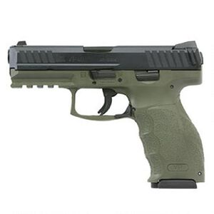 "H&K VP9 9mm Luger Semi Auto Pistol 4.09"" Barrel 10 Rounds Striker Fired Night Sights Picatinny Rail Black Slide Polymer Frame OD Green Finish"