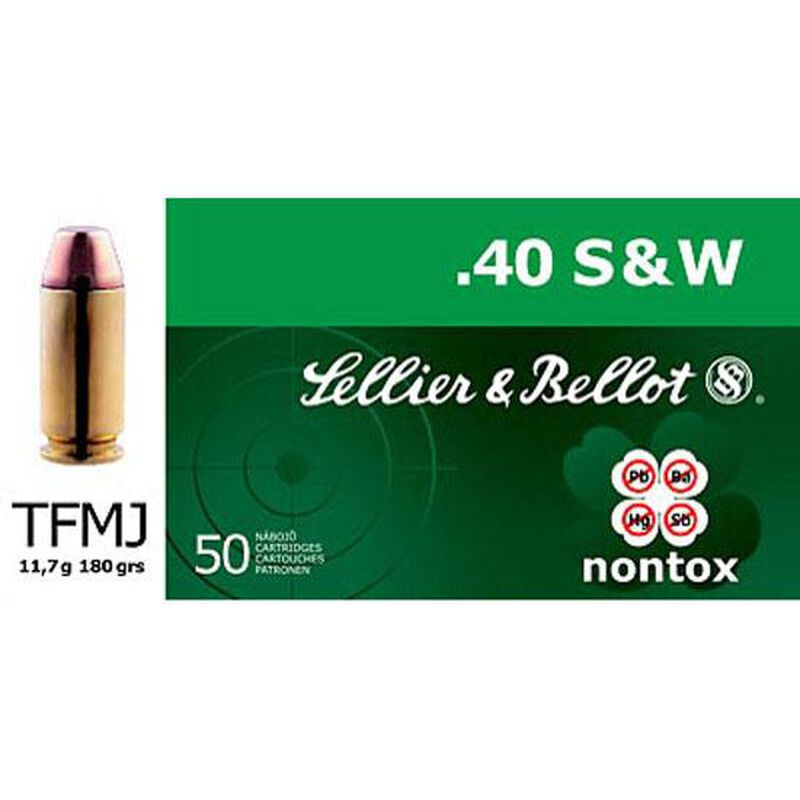 Sellier & Bellot NonTox .40 S&W Ammunition 50 Rounds TFMJ 180 Grains SB40NT