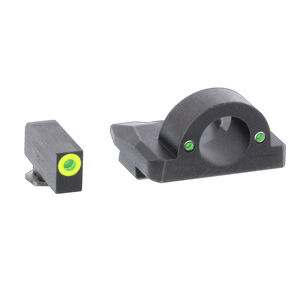 AmeriGlo Ghost Ring Sight Sets Fits GLOCK 17/19/26 Gen 1-4 Green Tritium LimeGreen Outline Front Sight Steel Housing Matte Black