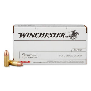 Winchester 9mm NATO Ammunition 50 Rounds FMJ 124 Grains Q4318