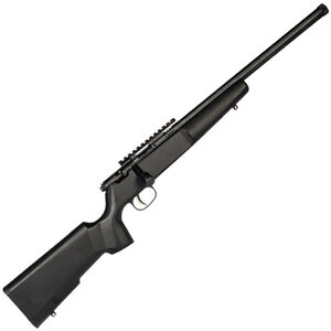 "Savage Rascal Target Bolt Action Rifle .22 LR 16.125"" Threaded Barrel 1 Round Scope Rail Black Wood Stock Blued Finish"