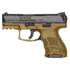 "H&K VP9SK Semi Auto Pistol 9mm Luger 3.39"" Barrel 10 Rounds Striker Fired 3-Dot Sights Polymer Frame Flat Dark Earth Finish"