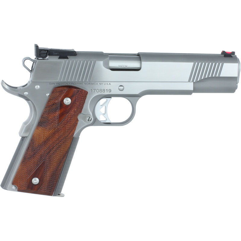 """Dan Wesson Pointman 45 PM-45 .45 ACP 1911 Semi Auto Pistol 5"""" Barrel 8 Rounds Full Size Government Profile FO Front Sight Wood Grips Contrasting Stainless Finish"""