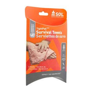 SOL TightPak Survival Towels, 4 Pack