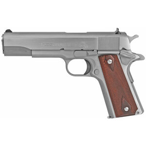 "Colt Classic 1911 Series 70 Government Model .45 ACP Semi Auto Pistol 5"" Barrel 7 Round Fixed Sights Rosewood Grips Stainless Steel Finish"