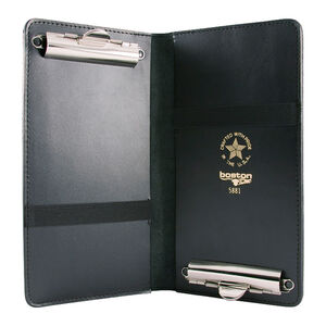 "Boston Leather 5881 Double Citation Holder Clip Style 5.5""x10"" Leather Plain Black 5881-1"