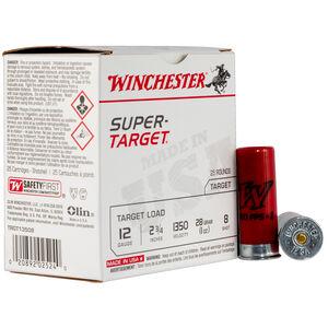"Winchester Super-Target 12 Gauge Ammunition 25 Round Box 2-3/4"" #8 Lead 1oz 1350 fps"