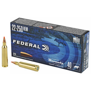 Federal Varmint and Predator .22-250 Remington Ammunition 20 Rounds 40 Grain Hornady V-Max 4200fps