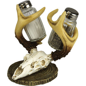 River's Edge Products Euro Deer S&P Set Salt and Pepper Shakers with Skull Mount Holder 526