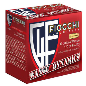 Fiocchi Range Dynamics .40 Smith & Wesson Ammunition 1000 Rounds 170 Grain Full Metal Jacket Truncated Cone 1020fps