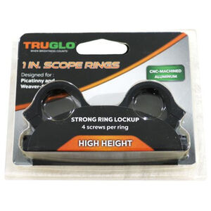TRUGLO Scope Rings Weaver/Picatinny Style 1 inch Tube High Height CNC Machined Aluminum Matte Black