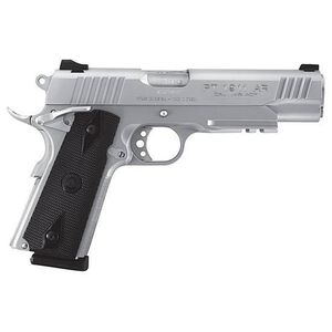 "Taurus 1911 Railed Single Action Semi Automatic Pistol .45 ACP 5"" Barrel 8 Round Magazine Novak Style Sights Picatinny Rail Checkered Black Grips Stainless Steel Finish"