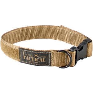 """US Tactical K9 Collar Medium 1.25"""" Wide QR Buckle Velcro Adjustment Coyote Brown"""