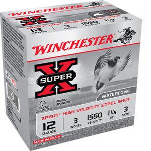 """Winchester Super-X Xpert High Velocity 12 Gauge Ammunition 3"""" #3 Steel Shot 1-1/8 Oz 1550 fps"""