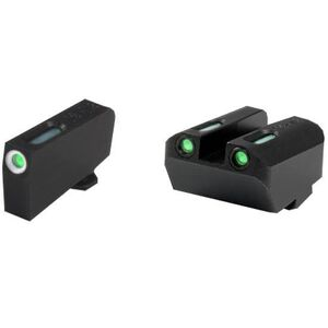 TruGlo TFX Suppressor Height GLOCK 9/40/357 Front/Rear Day/Night Sight Set Green Tritium 3-Dot Configuration Front White Focus Lock Ring Square Cut Rear Notch Steel Black