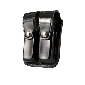 Boston Leather Double Magazine Holder Fits Most Double Stack 9mm/.40 Magazines Brass Snaps Leather Hi-Gloss Black