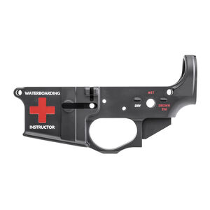 Spikes Tactical AR-15 Forged Stripped Lower Receiver Multi Caliber Water Boarding Logo Color Filled Aluminum Black