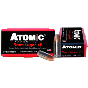 Atomic 9mm Luger +P Ammunition 50 Rounds 124 Grain Bonded Match Hollow Point 1300fps
