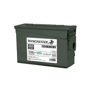 420 Rounds of Winchester M855 5.56 NATO SS109 Green Tip FMJ 62 Grain Ammunition on Stripper Clips in an Ammo Can