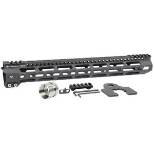 "Midwest Industries AR-15 Ultra Lightweight 15"" One Piece Free Float M-LOK Hand Guard 6061 Aluminum Hard Coat Anodized Matte Black"