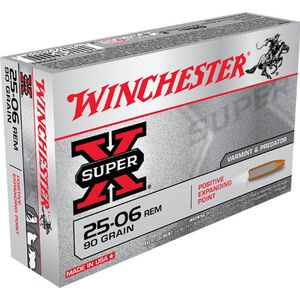 Winchester Super-X .25-06 Rem Ammunition 20 Rounds 90 Grain Positive Expanding Point JHP 3440fps