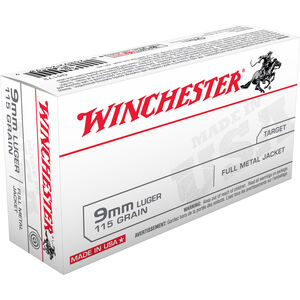 Winchester USA 9mm Luger Ammunition 50 Rounds FMJ 115 Grain 1190 fps