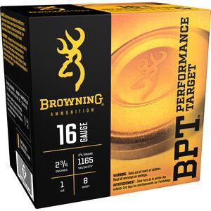 "Browning BPT Light 16 Gauge Ammunition 250 Rounds 2.75"" #8 Lead 1 Ounce B193611628"