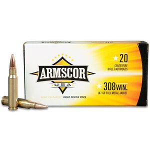 Armscor USA .308 Winchester Ammunition 20 Rounds FMJ 147 Grains F AC 308-1N