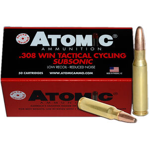 Atomic Tactical Cycling .308 Win Sub-Sonic Ammunition 50 Rounds 260 Grain SPRN 1050fps
