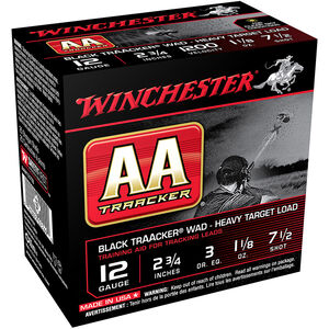 "Winchester USA AA TrAAker Wad Heavy Target Load 12 Gauge Ammunition Black Wad 2-3/4"" #7.5 Lead Shot 1-1/8 oz 1200 fps"