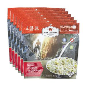 Wise Company Camping Freeze Dried Food Pasta Alfredo with Chicken Two Servings Per Pouch
