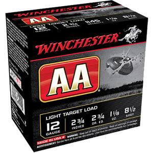 "Winchester USA AA Light Target Load 12 Gauge Ammunition 2-3/4"" #8.5 Lead Shot 1-1/8 oz 1145 fps"