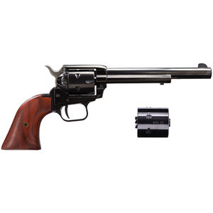 "Heritage Rough Rider Revolver Single Action Army .22 LR and .22 Magnum 6.5"" Barrel Blued Frame Wood Grips 6 Round Fixed Sights"